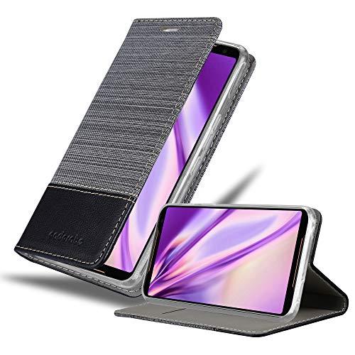 Cadorabo Hülle für Asus ROG Phone 2 in GRAU SCHWARZ - Handyhülle mit Magnetverschluss, Standfunktion & Kartenfach - Hülle Cover Schutzhülle Etui Tasche Book Klapp Style