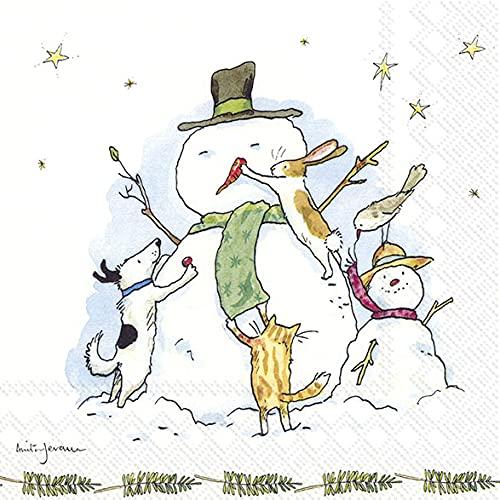 20 servilletas de muñeco de nieve y sus amigos, cómic, animales, invierno, Navidad, decoración de mesa, 33 x 33 cm