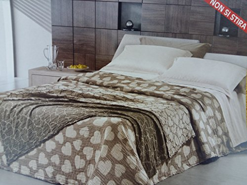 Couvre-lit double avec cœurs beiges 260 x 260 cm, non repassé, fabriqué en Italie