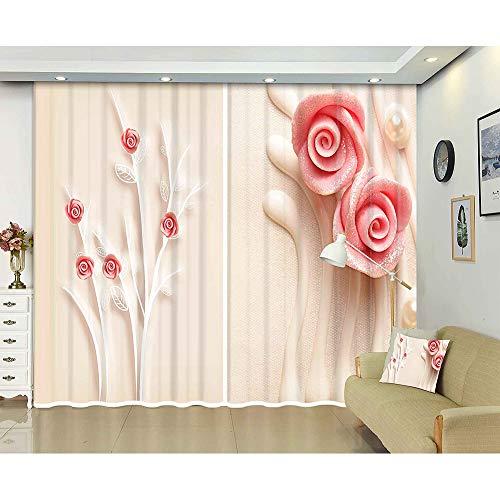 cortinas opacas 2 piezas rosa