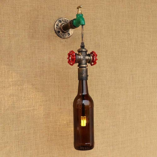 Botella de cristal Pantalla G4 LED LED de pared para sala de estar Dormitorio Restaurante Bar pared Lanternvintage Agua Tubería de pared Sconence Metal Lámpara de pared
