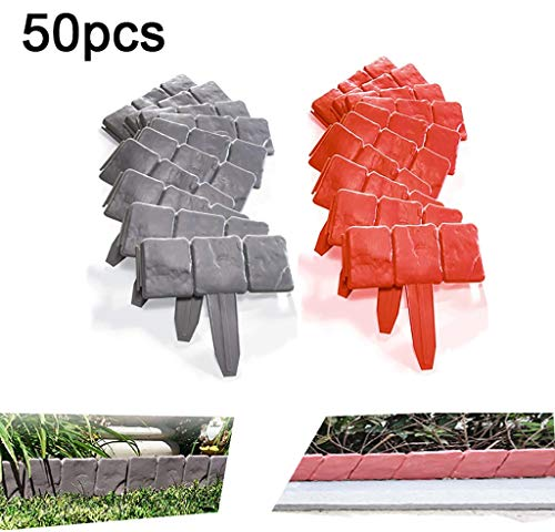 QBZS-YJ 50PCS Garden Plastic Fence Edging Cobbled Stone Effect Lawn Edging Plant Border DIY Decorative Flower Grass Bed Border for Landscaping Walkways Splicing Length 41ft
