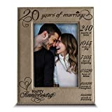 BELLA BUSTA-20 Years of Marriage-Months, Weeks, Days, Hours, Weeks, Minutes, Seconds-20th Anniversary- Engraved Leather Picture Frame (5 x 7 Vertical)