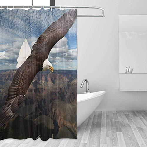 lovedomi Design Duschvorhang Adler Duschvorhang Polyester für Zuhause Wasserdicht Stoff Stoff Badezimmer Dekor Set 183 x 183 cm mit Haken