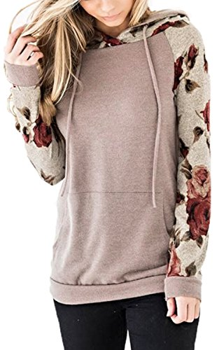 Angashion Women's Floral Printed Long Sleeve Pullover Hoodies Sweatshirt with Pocket Light Caffeine M