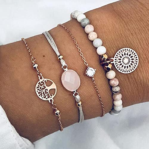 Branets Boho Hollow Bracelet Gold Layered Tree of Life Bracelet Set Crystal Hand Chain Jewelry Accessories for Women and Girls(4 Pcs)
