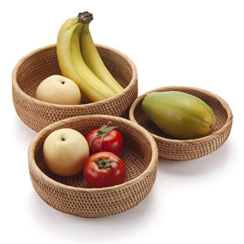 DECRAFTS Cestas Mimbre de Almacenaje Redondo Cuencos de Frutas Tejidas Apilable para Armarios de Cocina Estante Conjunto Natural 3 Piezas