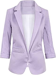 8791f85c028 SEBOWEL Women s Fashion Casual Rolled Up 3 4 Sleeve Slim Office Blazer  Jacket Suits