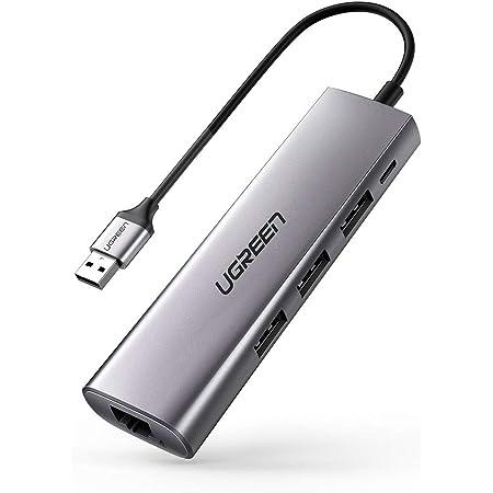 UGREEN 有線LAN変換アダプター USB 3.0 LAN ハブ 4-in-1 イーサネット ハブ USB3.0ポート*3 ウェブ会議対応 USB LAN イーサネット アダプター RJ45 Gigabit対応 超高速ギガビット 10/100/1000Mbpsまで ドライブ不要
