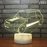 (Solo 1) coche clásico coche deportivo luz nocturna 3d led de siete colores regalo creativo regalo para niños regalo de cumpleaños decoración