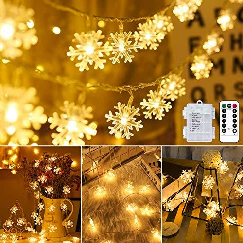 Weihnachten Lichterkette LED Schneeflocke Lichterkette Batterie 6M 40LED Warmweiß Lichterkette mit Fernbedienung 8 Modi Wasserdicht Außen Innen Lichterketten für Zimmer Party Garten DIY Deko Metaku…