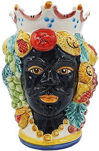 sicilia bedda - Teste di Moro SICILIANE in Ceramica di CALTAGIRONE - Realizzate a Mano - Altezza Centimetri 22 - Elegante Complemento d'Arredo (Testa di Moro Saraceno)