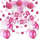 """Decoraciones Cumpleaños Nina – 1 Bandera Banderines Feliz Cumpleaños """"Happy Birthday"""" + 8 Pompon Bola de Flor +..."""
