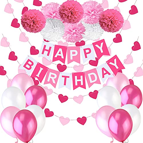 """Decoraciones Cumpleaños Nina – 1 Bandera Banderines Feliz Cumpleaños """"Happy Birthday"""" + 8 Pompon Bola de Flor + 2 Guirnaldas Corazon de 3 metros + 12 Globos Rosa Fucsia Blanco"""
