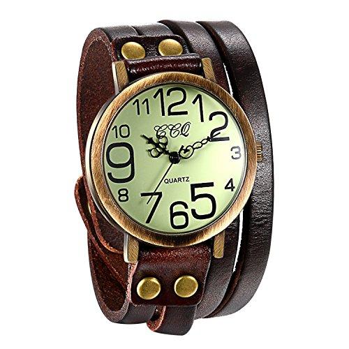 JewelryWe Herren Damen Armbanduhr, Braun Leder Armband Wickelarmband, Casual Retro, Analog Quarz Uhr, Vintage grünes Digital Zifferblatt