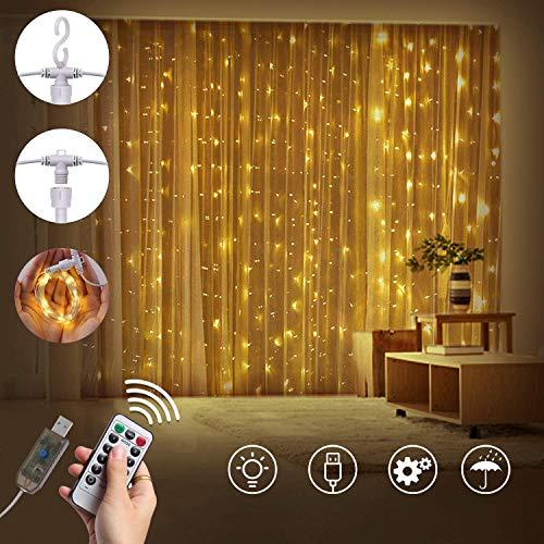 Lichtsnoer met 300 leds, 3 x 3 meter, met afstandsbediening, voor binnen en buiten, voor party, bruiloft