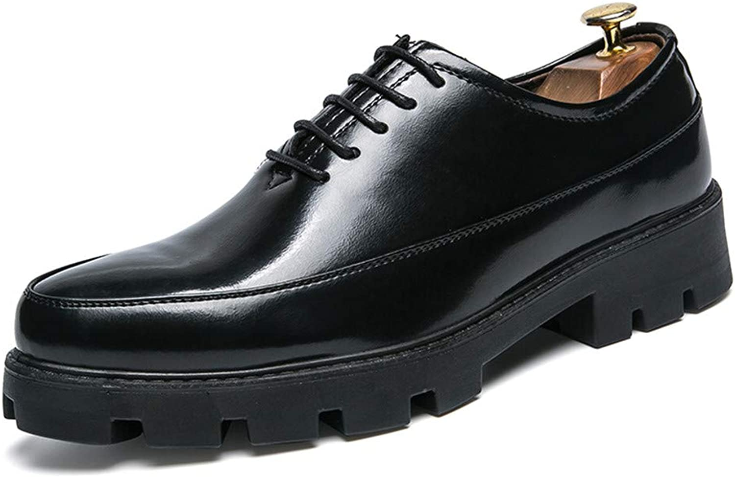 JIALUN-shoes Men's Simple Business Oxford Casual Height Increasing Insole Thick Waterproof Patent Leather Formal shoes
