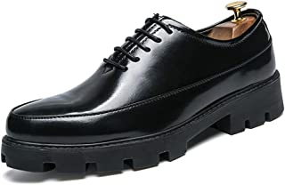 HongJie Hou Men's Business Oxford Casual Height Increasing Insole Thick Waterproof Patent Leather Formal Shoes (Color : Black, Size : 8 UK)