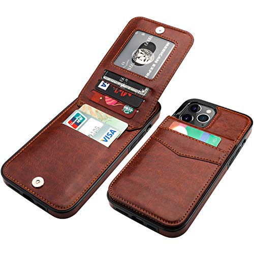 KIHUWEY Compatible with iPhone 12 Pro Max Case Wallet with Credit Card Holder, Premium Leather Magnetic Clasp Kickstand Heavy Duty Protective Cover for iPhone 12 Pro Max 6.7 Inch(Brown)