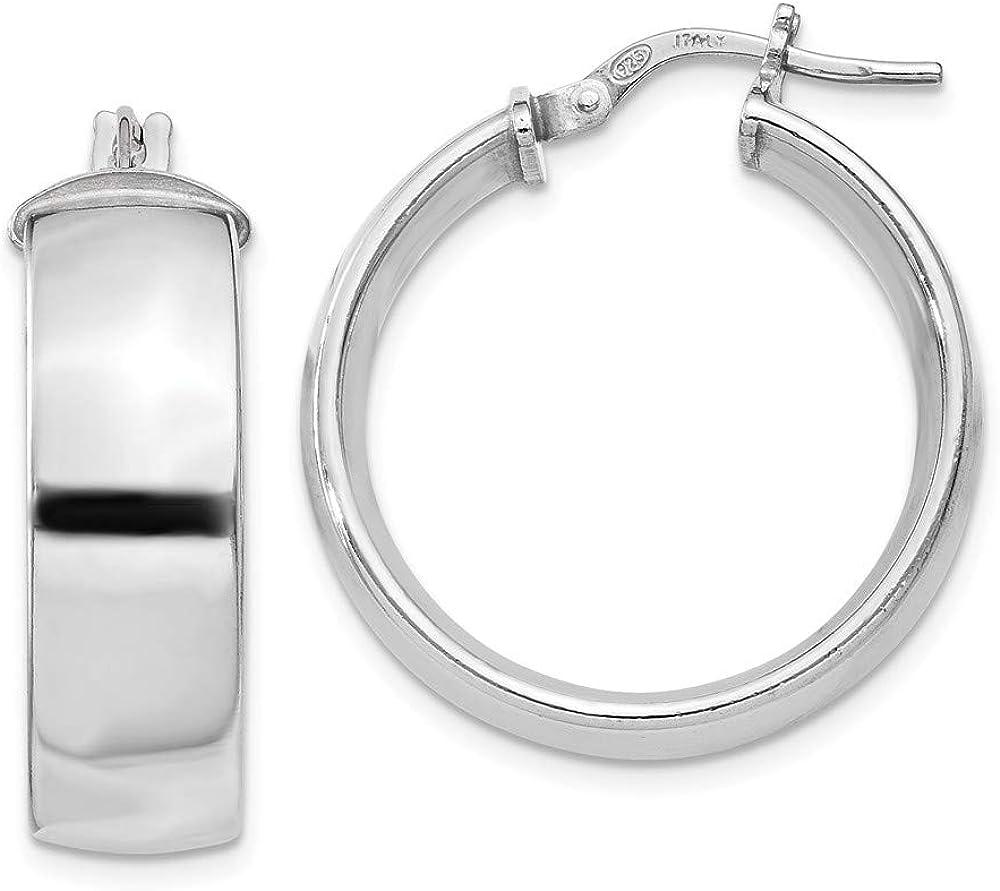 925 Sterling Silver 7.5x25mm Hoop Earrings F Hoops Alternative dealer Set Ear Max 71% OFF Round