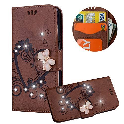 Braun Brieftasche für Samsung Galaxy A8 Plus 2018,Strass Handyhülle für Galaxy A8 Plus 2018,Moiky Luxus Liebe Herze Muster 3D Schmetterling Dekor Magnetisch Kunstleder Handytasche mit TPU