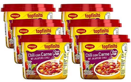 MAGGI Topfinito Chili con Carne: mit Jalapeño Chili, leckeres Fertiggericht, mit Hackfleisch und Kidneybohnen, in würziger Soße, 6er Pack (6 x 380 g)