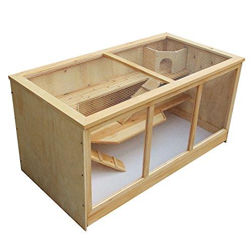 Gabbia XXL a tre livelli per criceti roditori in Legno e finestra in acrilico 115x60x58cm