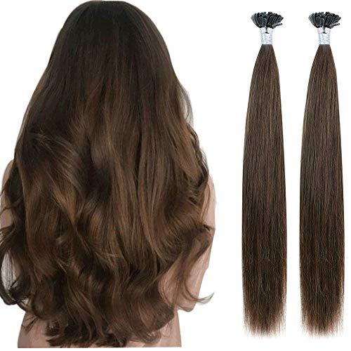 Creamily U Tip Hair Extensions Human Hair 16inch Straight #4 Chocolate Brown Pre Bonded Italian Keratin Nail Tip Fushion Hairpiece 100% Remy Human Hair Extensionsfor Women (40g/pack)
