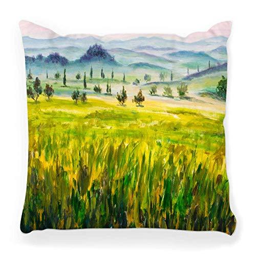 REAlCOOL Funda de almohada cuadrada suave 45,7 x 45,7 cm, pintura al óleo, paisajes italianos, típicos de la Toscana, ciprés montañas, niebla, dibujado a mano artístico