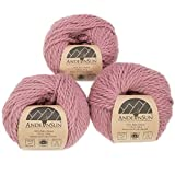 100% Baby Alpaca Yarn Weight Category #1 Super Fine,Sock,Fingering -Set of 3 Skeins 150 Grams-Luxuriously and Caring Soft for Knitting and Crocheting (#5 Bulky, Pink Mauve)