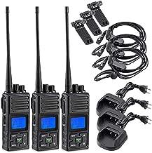 SAMCOM 2 Way Radio 5 Watt Long Range Rechargeable Hand-held UHF Business Programmable Portable Walkie Talkie for Adult, 3 Packs