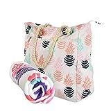 Beach Bag Spacious Shoulder Tote Travel & Gym Bag w/Multiple Pockets & Strong Zipper