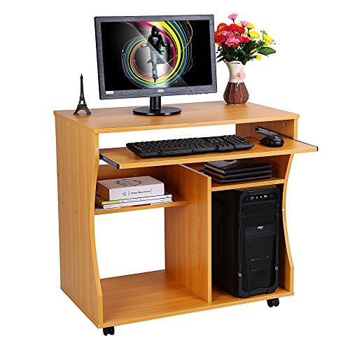 Zerone Escritorio de la computadora, Ordenador portátil Madera Carro Escritorio Teclado estantes con Ruedas giratorias para hogar Oficina PC portátil Mesa 80 cm x 48 cm x 76 cm (Madera)