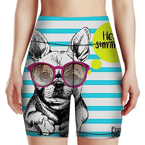 AOYEGO Dog Yoga Shorts Stripe French Bulldog with Sunglasses Hello Summer High Waist Tummy Control Women Girl Sports Workout Running Biker Shorts XL Blue Yellow White