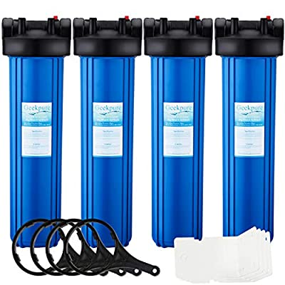 Geekpure Big Blue Whole House Water Filter Housing 1-Inch Outlet/Inlet with Wrench and Bracket -4.5 Inch x 20 Inch -Blue Color(Pack of 4)