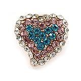 Avalaya Broche pequeño de corazón multicolor en metal dorado – 15 mm