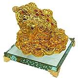 Feng Shui 3 zampe rospo/denaro rana su un mucchio di soldi per ricchezza fortuna