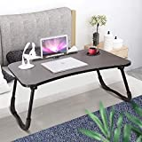 Multifunction Laptop Stand Folding Standing Tray Desk Portable Bed Tray Table Notebook Reading Holder with Cup Slot for Eating Breakfast as Well as USB Interface (Give Away Table Lamp Fan)