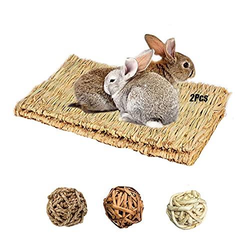 Tfwadmx Rabbit Grass Mat,16.5''x11'' Large Natural Woven Seagrass Mat Bunny Bed Chew Mat Sleep for...