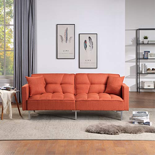 Sleeper Sofa Convertible Futon 78.35 inch Sofa Bed Sleeper Sofa Bed Couch Adjustable Futon Couches Sofas Bed for Living Room Fold Up and Down Recliner Couch