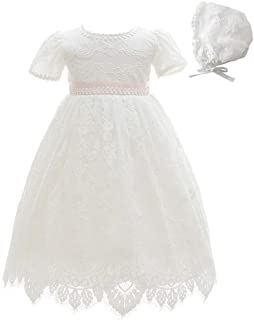 Meiqiduo Baby Girls Lace Dress Christening Baptism Gowns Outfit with Bonnet