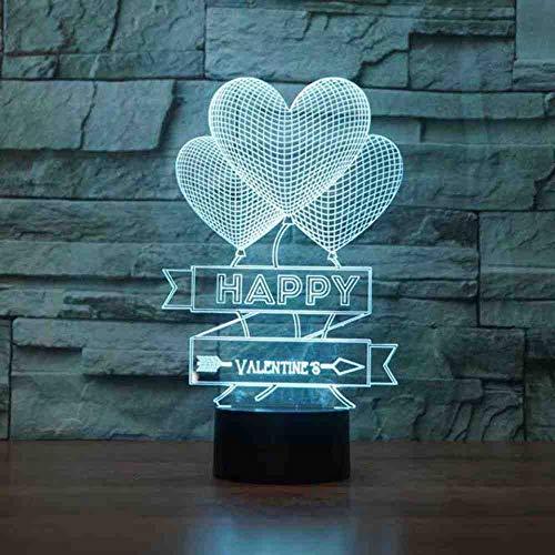 BJDKF Nachtlampje, hartje, liefde, ballon, 3D LED-visuel, 7 kleuren, sfeer, tafellamp, USB, creatieve verlichting, gelukkige cadeaus, Valentijnsdag