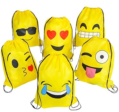 Emoticon Drawstring Backpack Party Supplies Favor String Bag - Cute Prizes for Kids Teen Girls Boys Student Classroom Carnival Birthday Return Goody Gift Idea Cinch Sack Bulk 16x13 Inch, 6-Pack