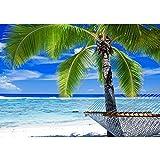 Vlies Fototapete PREMIUM PLUS Wand Foto Tapete Wand Bild Vliestapete - Meer Strand Palme Wolken Wellen Hängematte Paradies - no. 1444, Größe:254x184cm Vlies