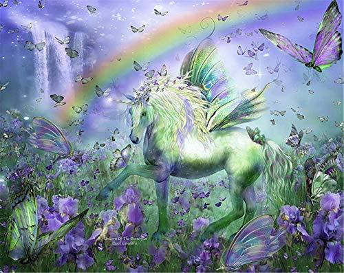 Pintar por Numeros animal color arcoiris unicornio.png DIY Cuadro al óleo con números para Kit de Pintura al óleo Digital para Adultos y niños de Lienzo decoración para el hogar 40x50cm Sin Marco
