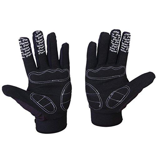 Voll Finger warmen Radsport Handschuhe (BLACK+WHITE, L) - 3