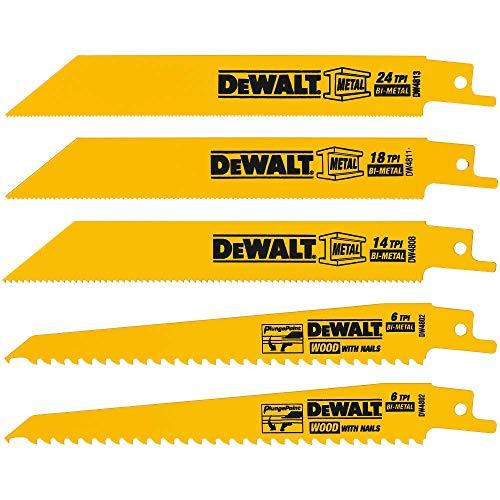 DEWALT Reciprocating Saw Blades, Metal/Woodcutting, 5-Piece Set (DW4857)