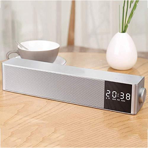 Barras De Sonido Dolby Atmos con Pantalla LED Y Reloj Despertador Incorporado 2200Mah Batería De Litio Compatible con Ranura para Tarjeta TF AUX Adecuado para TV Portátil Gris
