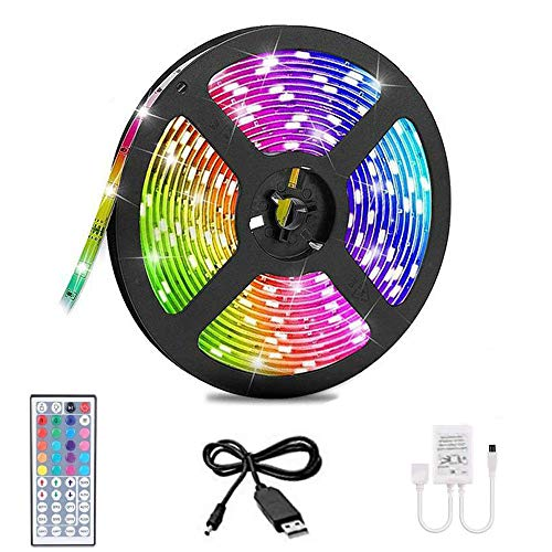 Ghopy 5M Ruban à LED Bande 3528 RGB USB Bande Lumineuse Flexible Multicolore avec Télécommande Sync avec Rythme de Musique/Fonction de Minuterie pour Fête Party Décor pour Maison Bar Chambre Cuisine