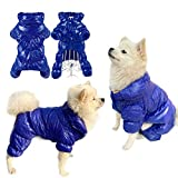 SunteeLong Dog Winter Coat Waterproof Puppy Dog Coat Pet Warm Lightweight Coat Windproof Cat Clothes Dog Snowsuit Warm Fleece Padded Winter Pet Clothes for Small Dogs (Blue L)